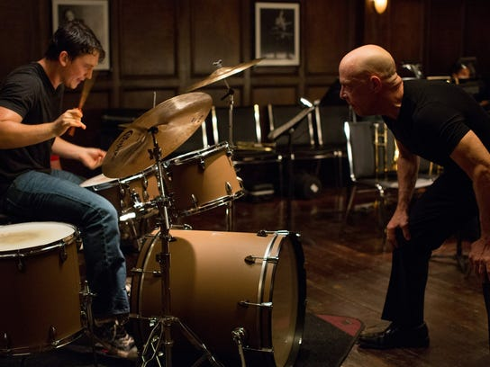 "Miles Teller, left, and J.K. Simmons in ""Whiplash."""