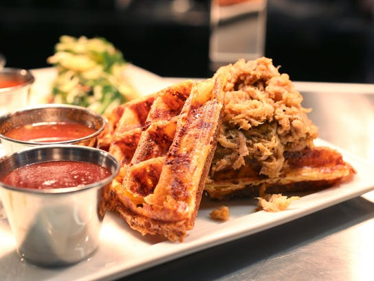 Smoked Pork Mac & Cheese Waffle. New food offerings