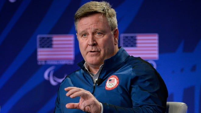 USOC chief of sport performance Scott Blackmun speaks during a press conference at the 2016 Team USA Media Summit on March 7, 2016.
