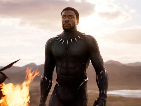 "Chadwick Boseman in a scene from ""Black Panther."""