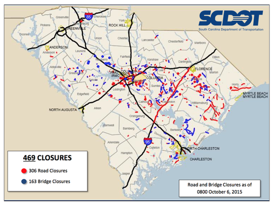S.C. road closures as of 8 a.m. on Oct. 6