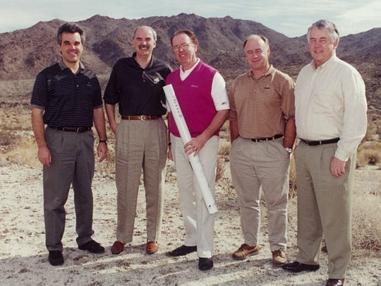 Golf course designer Tom Fazio, center, at what is now the Canyons course at BIGHORN, circa 1997.