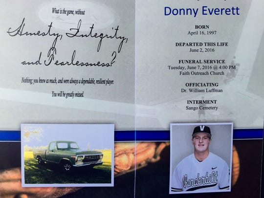 Program for Vanderbilt pitcher Donny Everett's funeral