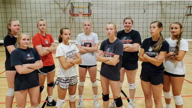 The 2020 Roland-Story volleyball team will feature a strong lineup that includes, from left, Madison Geise, Ava Charlson, Reagan Barkema, Reagan Schmitz, Jadyn Nelson, Reagan Faber, Madison Martindale, Ally Ringsby and Reagan Vogelaar along with seniors Megan Greenfield and Dani Grady (not pictured). They will attempt to keep things going smoothly for a program that is 88-30 over the previous three seasons. Photo by joe Randleman/Ames Tribune