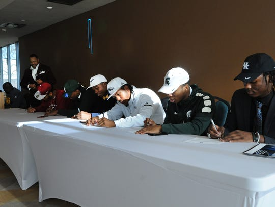 Signing their letters of intent are Cass Tech High