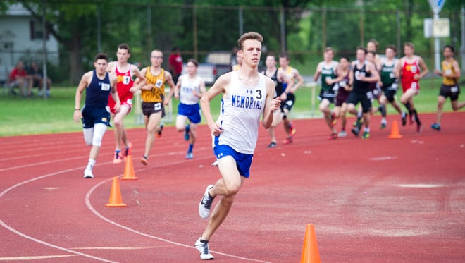 Memorial's Matthew Schadler won the 1,600 meters in 4:15.73 Thursday at the rain-delayed Central Sectional boys' track meet.