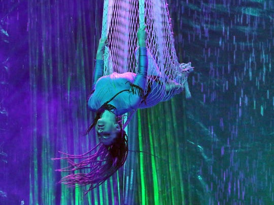A performer with Cirque Italia, an Italian water circus,