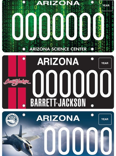 Arizona Department of Transportation's newest plates (from top to bottom): Arizona Science Center, Barrett-Jackson Auto Auction and Luke Air Force Base. Money from the sale of the plates goes to charities connected to each organization.