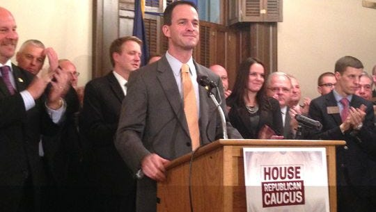 """House Speaker Kevin Cotter, R-Mt. Pleasant, is seen in this November file photo. Cotter says he is going to try to rifle through Michigan's existing budget to """"find"""" a billion dollars or more to spend on roads."""