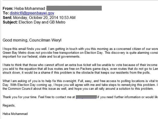 Heba Mohammad's first email asked about bus service