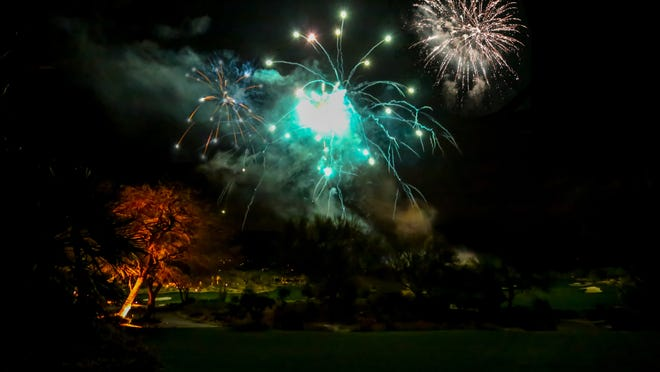 A deluxe, full length fireworks display, viewed from the Bighorn Golf Club balcony, opened the festivities.