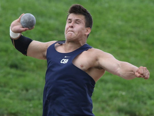 Dan Mead of Christian Brothers Academy throwing the shot put.
