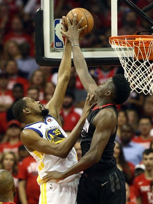 Houston Rockets center Clint Capela blocks the shot of Golden State Warriors forward Kevin Durant during the second quarter of Game 5.