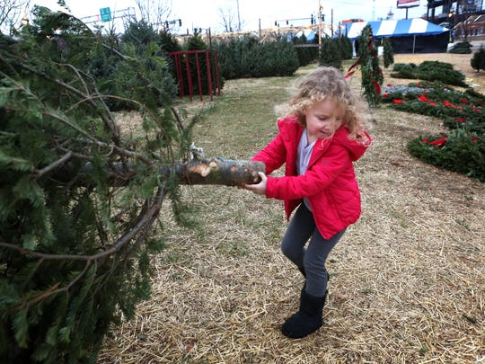 Five-year-old Addison Blieden helps carry a Christmas tree while out shopping with her family at Christmas Tree Lane at the waterfront in downtown Louisville. Five-year-old Addison Blieden helps carry a Christmas tree while out shopping with her family at Christmas Tree Lane at the waterfront in downtown Louisville. Dec. 16, 2014.