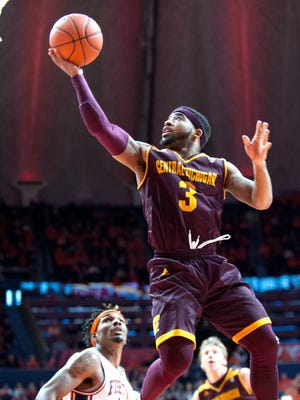 Central Michigan's guard Marcus Keene (3) during the second half of their NCAA college basketball game in Champaign, Ill., on Dec.10, 2016.