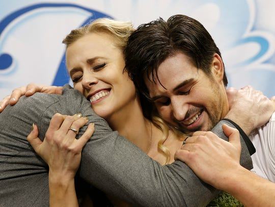 Madison Hubbell, center, and Zachary Donahue, right,