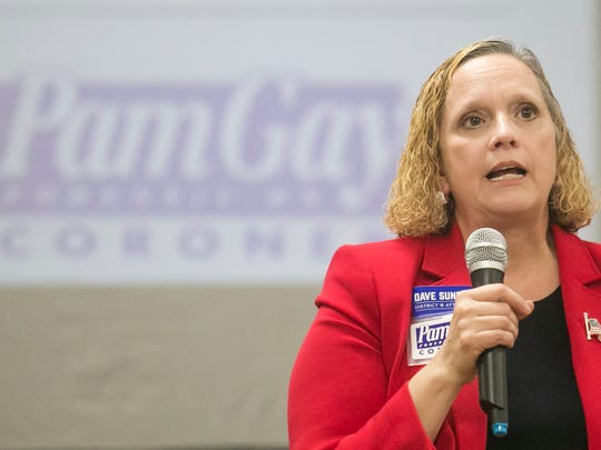 York County Coroner Pam Gay, speaks during a  campaign