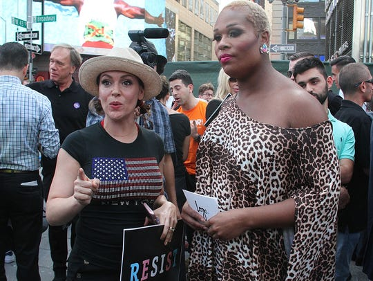 Actress and activist Alyssa Milano and transgender