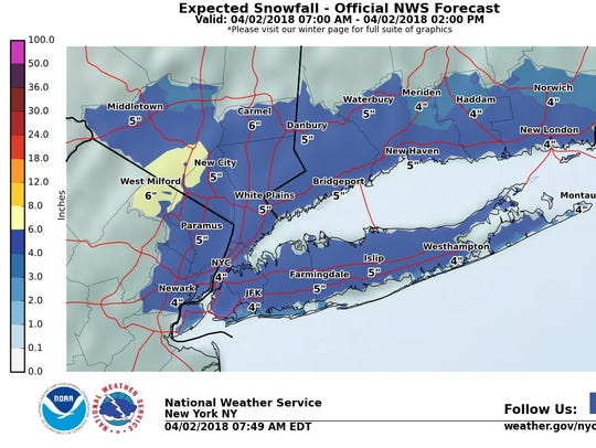 Up to 6 inches of snow could fall on Monday, April