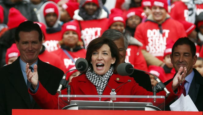 Lt. Gov. Kathy Hochul speaks during a charter school rally outside the state Capitol in Albany on March 4. An estimated 13,000 students, teachers and parents rallied to support Gov. Andrew Cuomo's call for more of the publicly funded, but privately run, schools.