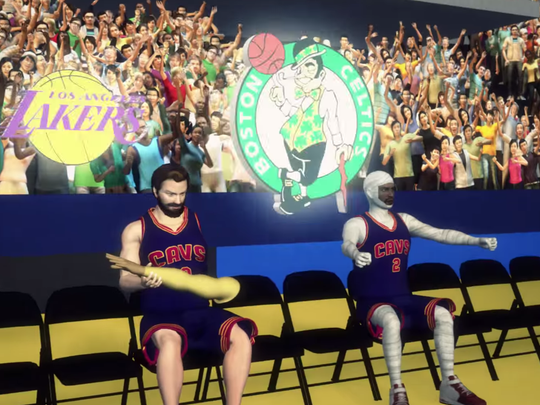 Kevin Love and Kyrie Irving shown in this Taiwanese