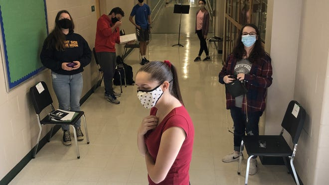 """For Westwood High's fall production of """"Romeo and Juliet,"""" rehearsals are socially distanced, and even held outside if the weather's good."""