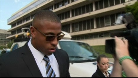 Greg Hardy enters a Charlotte courtroom Tuesday.