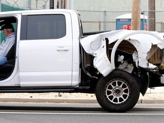This pickup truck was involved in a collision with