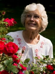 Zelma Potts, 85, poses for a portrait in front of her