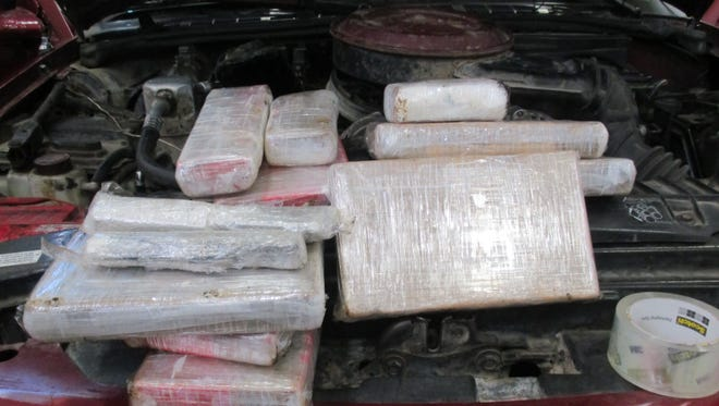 Customs and Border Protection officers working at the Santa Teresa port of entry found 16.5 pounds of cocaine with a street value of $528,000 hidden in the engine of a GMC Sonoma.