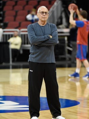 SMU head coach Larry Brown during practice at KFC Yum! Center.