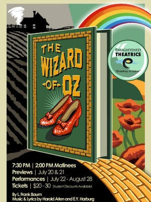 "Tickets for Enlightened Theatrics' ""The Wizard of Oz"" go on sale at noon June 15. Shows are July 22-Aug. 28 with previews July 20-21 at the Historic Grand Theatre. Tickets are $20 to $30."