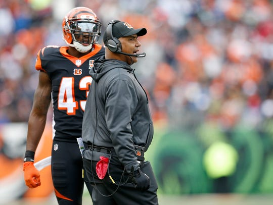 Cincinnati Bengals head coach Marvin Lewis argues a