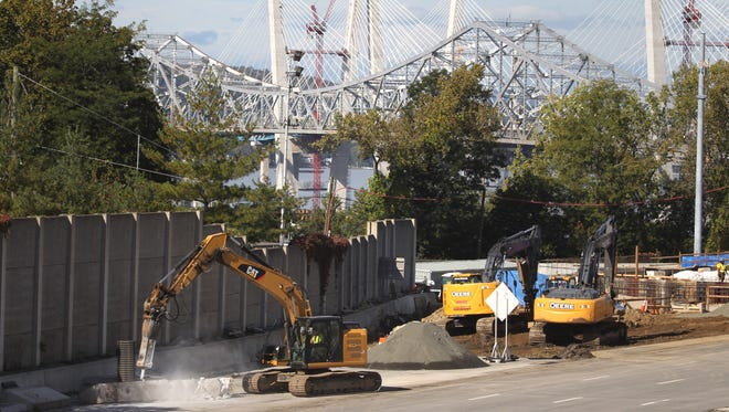 Road pavement is being removed near the Westchester landing of the Tappan Zee Bridge in Tarrytown Oct. 10, 2017.