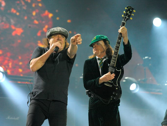AC/DC lead singer Brian Johnson and lead guitarist