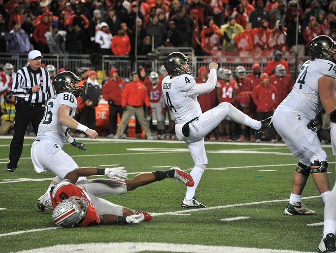 Michigan State kicker Michael Geiger kicks the game-winning