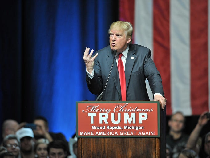 GOP presidential candidate Donald Trump speaks in Grand