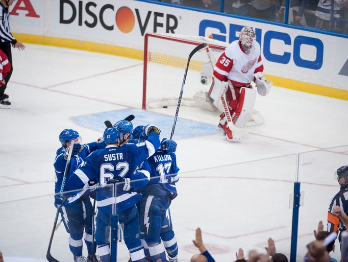 Tampa Bay celebrates a goal by center Tyler Johnson,