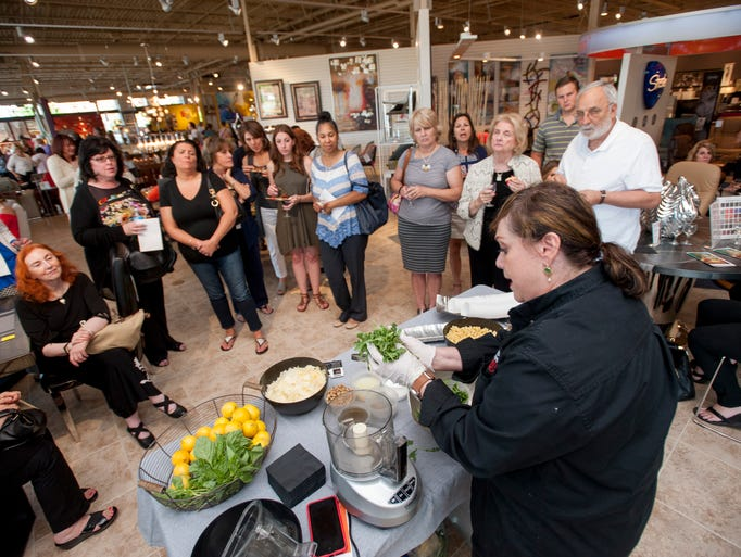 Annabel Cohen demonstrates how to make pesto during
