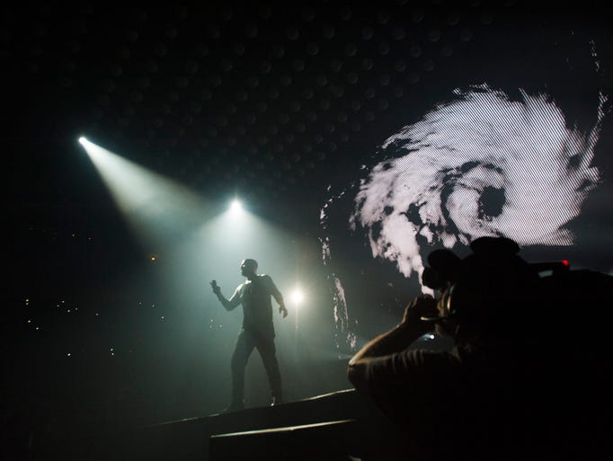 Drake performs at Joe Louis Arena in Detroit on Tuesday,
