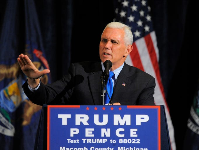 Republican vice presidential candidate Mike Pence speaks,