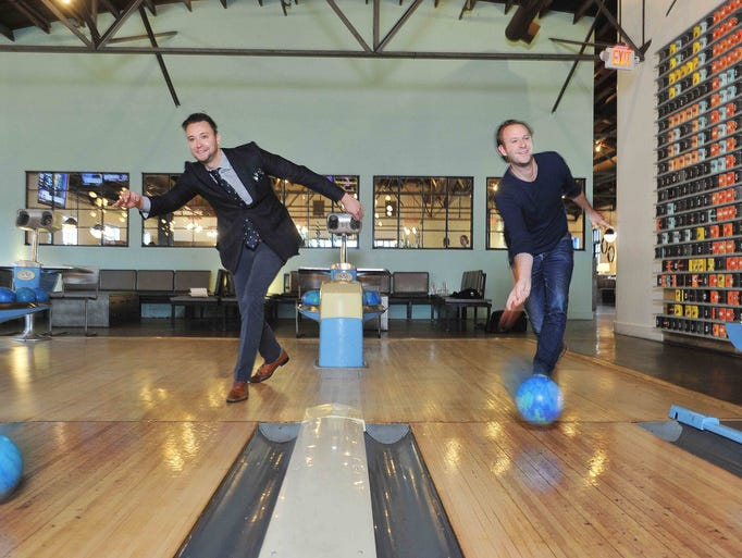 Max and Benjamin Goldberg bowl at Pinewood Social,