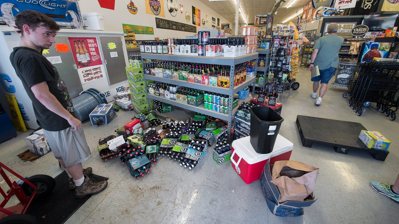 About 18 inches of water washed though Shrewsbury Beer and Soda Sunday evening during a downpour, destroying inventory. The business plans on opening Tuesday with sales made though the front door.