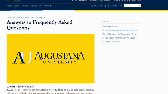 Augustana University FAQ website