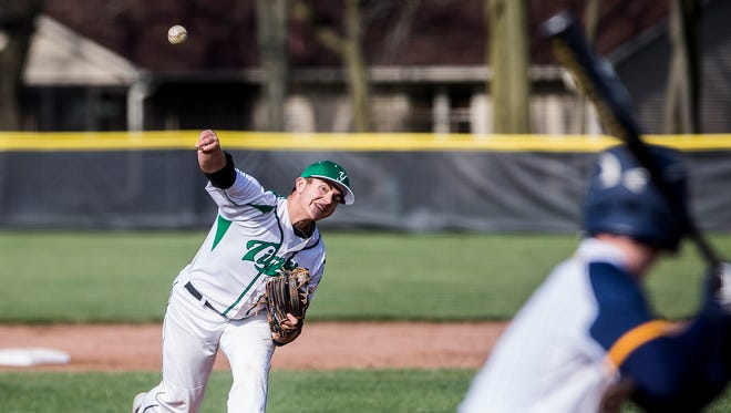 Yorktown's Dominic Cantanzarite, shown here pitching against Delta earlier this season, threw a complete game against Mt. Vernon in which he allowed no earned runs.
