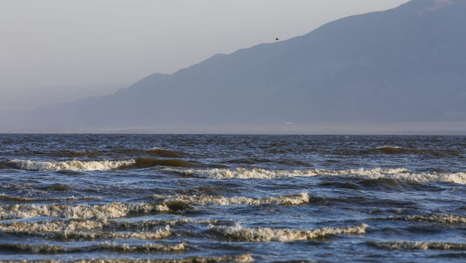 High winds stir up dust around the Salton Sea on May 20, 2016.