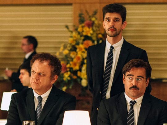 "From (L-R) John C. Reilly as Lisping Man, Ben Whishaw as Limping Man and Colin Farrell as David in ""The Lobster"""