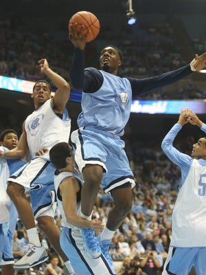 North Carolina guard P.J. Hairston shoots during a scrimmage.