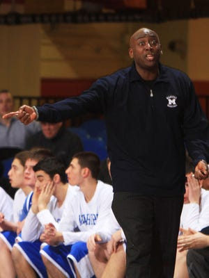 Coach Kevin Downes of Mahopac High School during a game Feb. 27, 2014, in which Mount Vernon High defeated Mahopac 43-40 to win a Class AA boys basketball semifinal game in White Plains, N.Y.