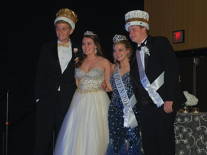 Cheatham County Central High School, Harpeth High School, and Sycamore High School recently celebrated prom night 2014. Pictured (from left) is Sycamore H.S. prom prince Donovan Taylor, prom princess Hannah Spurlock, prom queen Mallory Jennings and prom king Brandon Davis.